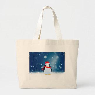 Cute Penguin w Red Santa Hat Christmas Snow Stars Large Tote Bag