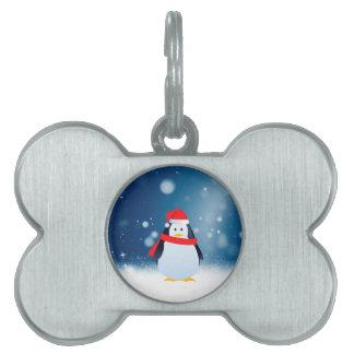 Cute Penguin w Red Santa Hat Christmas Snow Stars Pet Tag