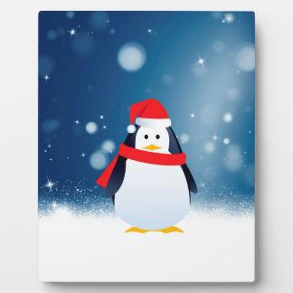 Cute Penguin w Red Santa Hat Christmas Snow Stars Plaque