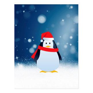 Cute Penguin w Red Santa Hat Christmas Snow Stars Postcard