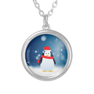 Cute Penguin w Red Santa Hat Christmas Snow Stars Silver Plated Necklace
