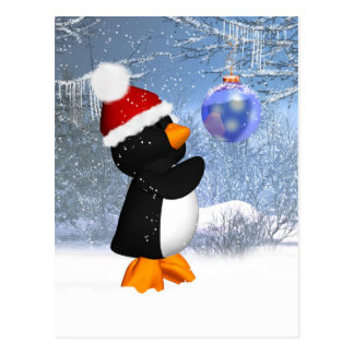Cute Penguin Winter Postcard With Tree Decoration