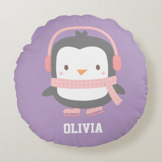 Cute Penguin with Ear Muffs Girls Room Decor Round Pillow
