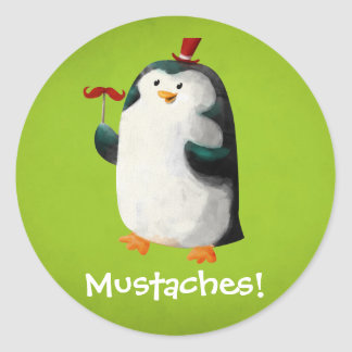 Cute Penguin with Mustaches Round Sticker