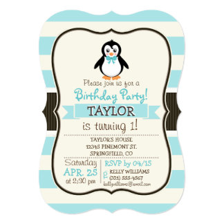 """Cute Penguin with Turquoise Bowtie 5"""" X 7"""" Invitation Card"""