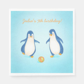 cute penguins animal themed kids party napkins