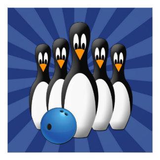 Cute Penguins Bowling Pins 24x24 Print Photo Art