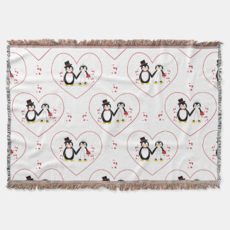Cute Penguins Bride Groom Wedding  Throw Blanket