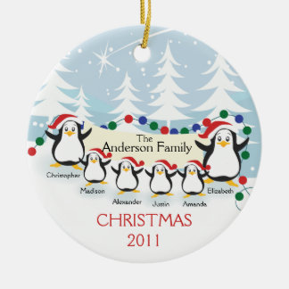 Cute Penguins Family of 6 Christmas Ornament