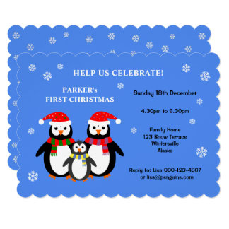 Cute penguins first christmas party invitation