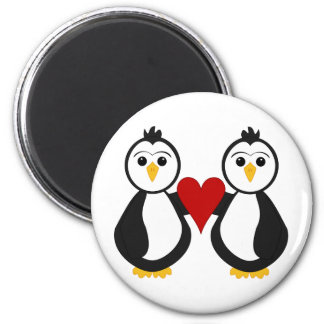Cute Penguins Holding A Heart 2 Inch Round Magnet