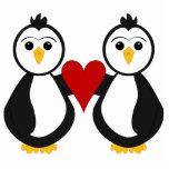 Cute Penguins Holding A Heart Photo Sculpture Ornament