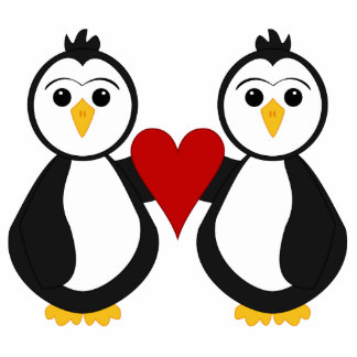 Cute Penguins Holding A Heart Photo Sculpture Ornament