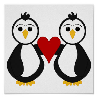Cute Penguins Holding A Heart Poster