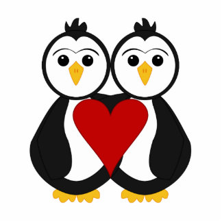Cute Penguins In Love Acrylic Cut Out