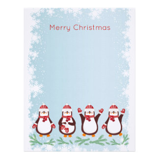 Cute penguins in Santa hats Christmas Letterhead