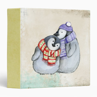 Cute Penguins in Winter Scarves and Hats Binders