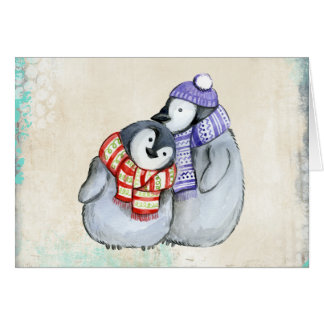 Cute Penguins in Winter Scarves and Hats Christmas Card