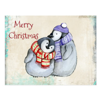 Cute Penguins in Winter Scarves and Hats Christmas Postcard