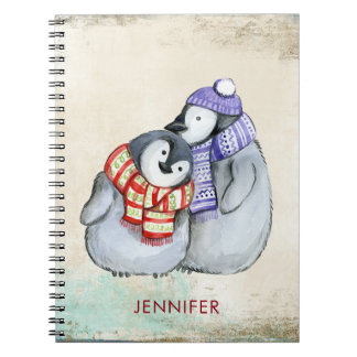 Cute Penguins in Winter Scarves and Hats Custom Notebook