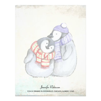 Cute Penguins in Winter Scarves and Hats Letterhead