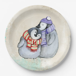 Cute Penguins in Winter Scarves and Hats Paper Plate