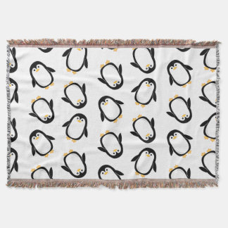 Cute Penguins Pattern Throw Blanket