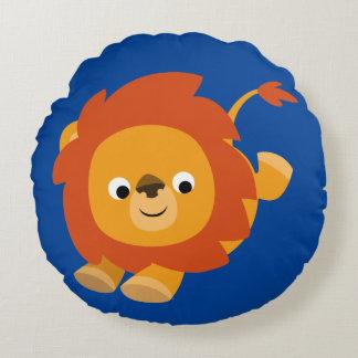 Cute Perky Cartoon Lion Round Pillow