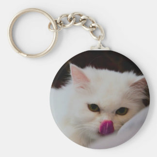 Cute Persian White Cat with Tongue Keychain