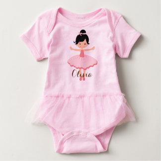 Cute Personalised Asian Ballerina Baby Bodysuit