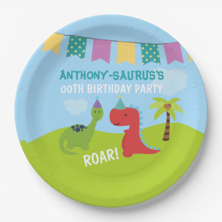 Cute Personalised Dinosaur themed Party 9 Inch Paper Plate