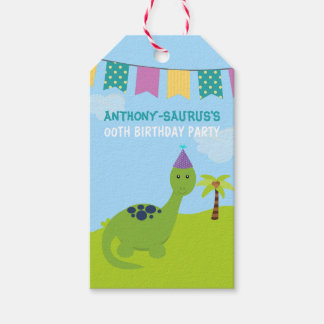 Cute Personalised Dinosaur themed Party Pack Of Gift Tags