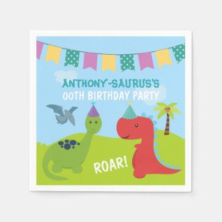 Cute Personalised Dinosaur themed Party Paper Napkins