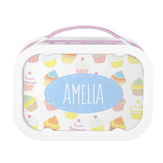 Cute Personalised Pastel Cupcake Pattern Lunch Box