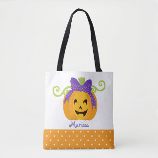 Cute Personalize Halloween Pumpkin Tote Bag