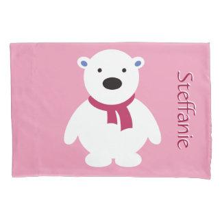 Cute Personalize Polar Bear, Pink & White Pillowcase