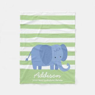 Cute Personalized Baby Elephant Safari Striped Fleece Blanket