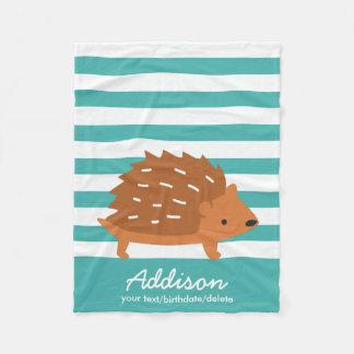 Cute Personalized Baby Hedgehog Animal Striped Fleece Blanket