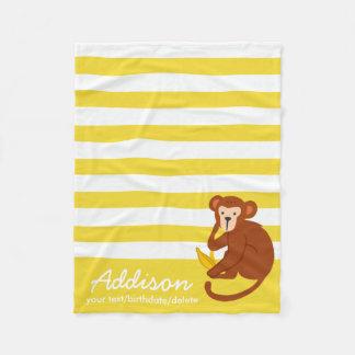 Cute Personalized Baby Monkey Jungle Yellow Stripe Fleece Blanket