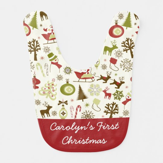 Cute Personalized Baby's First Christmas Holiday Bib
