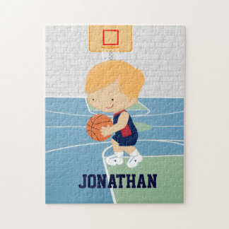 Cute Personalized Basketball Player blonde navy Jigsaw Puzzle