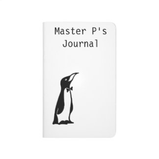 Cute Personalized Black White Penguin Journal
