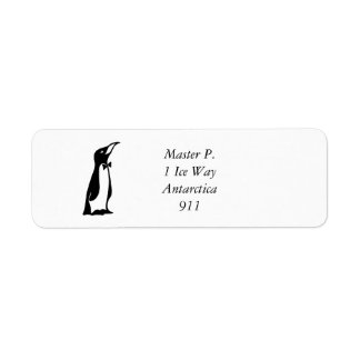 Cute Personalized Black White Penguin Return Address Label