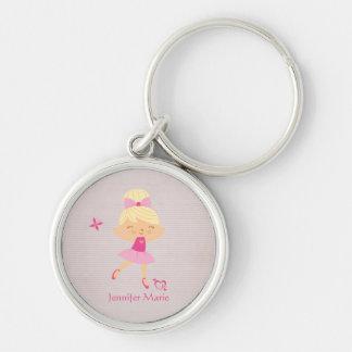 Cute personalized blonde hair ballerina keychain