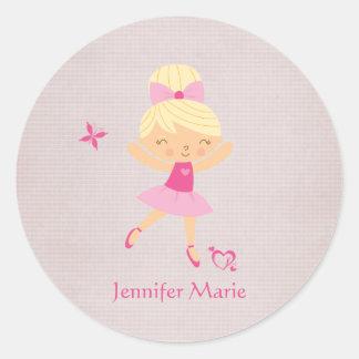 Cute personalized blonde hair ballerina stickers