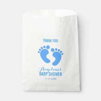 Cute Personalized Blue BABY FEET BOY Baby Shower Favour Bag