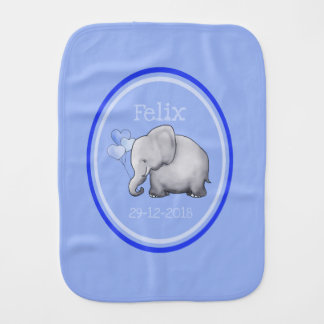 Cute Personalized Blue Heart Balloons Elephants Burp Cloth