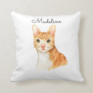 Cute Personalized Brown Cat Pillow