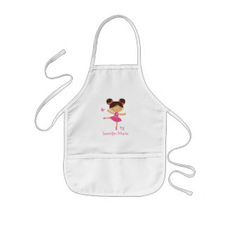 Cute personalized brown hair ballerina apron