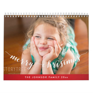 Cute Personalized Calendars Red Merry Christmas
